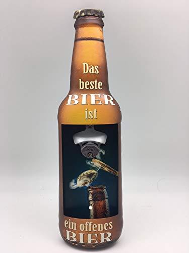 Blechwaren Fabrik Braunschweig GmbH Blechschild in Flaschenform Wandflaschenöffner - DAS Beste Bier IST EIN OFFENES Bier Y95
