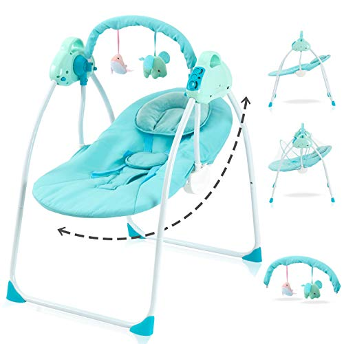 Baby Electric Rocking Cradles Sleeper Bassinet -Baby Bouncer Portable - Automatic Baby Basket Multifunction Baby Swing Cradle Bed - Rocking and Stationary Featur - Foldable Cradle - Blue