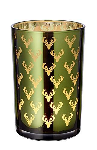 EDZARD Windlicht Teelichtglas Kerzenglas Dirk, grün, Hirsch, Höhe 18 cm
