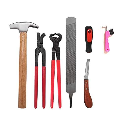 Professionelle Hufschmiedewerkzeuge, Raspel-Hufschneider-Set, Hufeisen-Schneidezange, Hufschmiede-Hufzangen-Messerwerkzeuge Trimm-Werkzeugsatz Trimmer-Reitzubehör, Geeignet für Pferde Rinderschaf-Esel