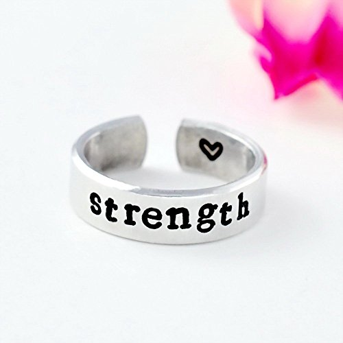 strength - Hand Stamped Aluminum Cuff Ring, Girls Teenagers Daughter Granddaughter, Inspirational and Motivational Gift