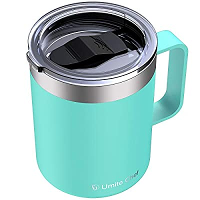 Umite Chef Stainless Steel Insulated Coffee Mug Tumbler with Handle, 12 oz Double Wall Vacuum Tumbler Cup with Lid Insulated Camping Tea Flask for Hot & Cold Drinks(Mint Green)