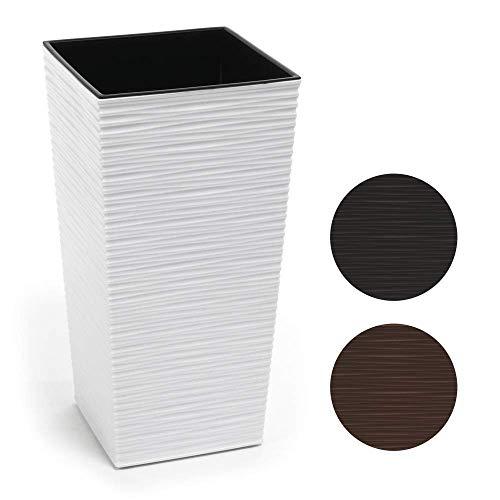 HappyFlower MultiProject | Blumentopf | Pflanzkübel | inkl. Einsatz | Quadrat | Meißel-Optik | 4 Größen 3 Farben | Übertöpfe (19 cm x 19 cm/Höhe 36 cm, Weiß)