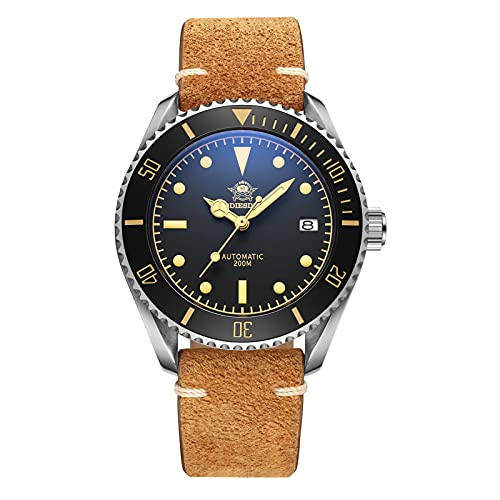 ADDIESDIVE Reloj automático para hombre, analógico, indicador de fecha, cristal de zafiro, luminoso y correa de ante