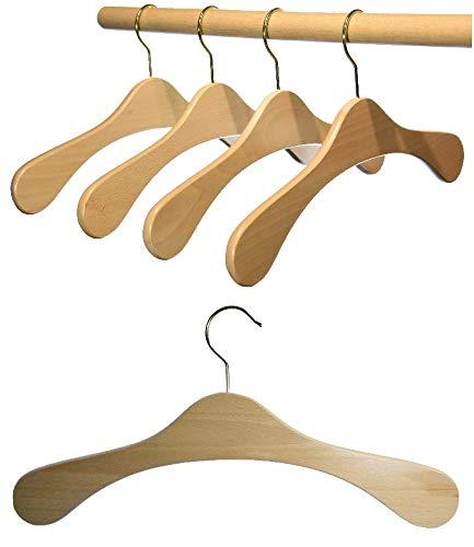 Hagspiel Kleiderbügel aus Holz, Garderobenbügel aus Buchenholz, natur lackiert 5 Stk.