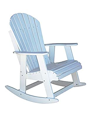 PHAT TOMMY Poly Adirondack Patio Rocking Chair-Alpine White