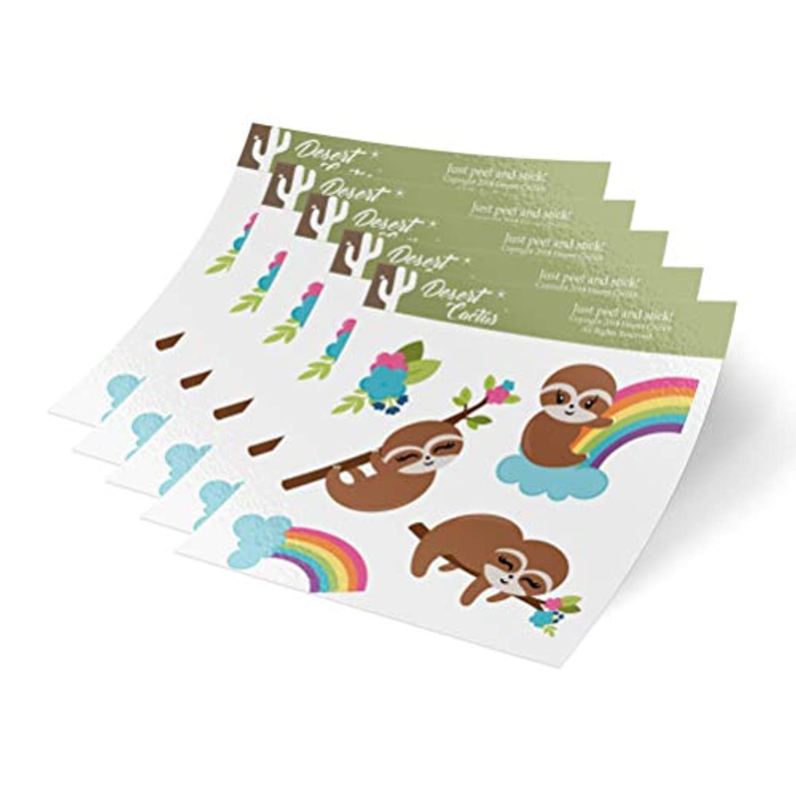 Sloth 5-Pack Themed Sheets of Stickers 6.5