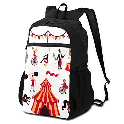 JOCHUAN Travel Womens Daypack Circus Elements Set Tent Monkey on Bike Air Gym Packable Backpack Women Foldable Travel Daypack Lightweight Waterproof for Men & Womentravel Camping Outdoor