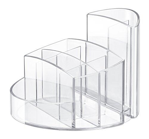 HAN Stifteköcher RONDO 17460-23 in Transparent-Glasklar – Stiftebox aus hochwertigem Kunststoff mit 9 Fächern – Schreibtisch Ordnungssystem für das Büro