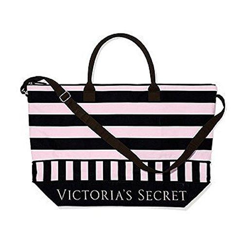 Victoria's Secret Getaway Canvas Tote Pink/Black Stripe
