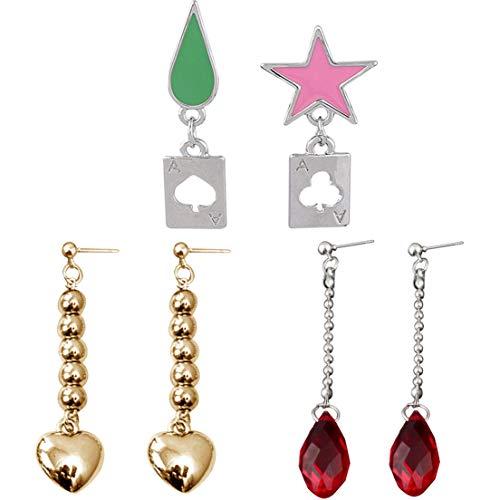 Teblacker 2 Pairs / 3 Pairs Anime HUNTER x HUNTER Hisoka Kurapika Cosplay Earrings Stars Teardrop Poker Earring Stud for Women Men Earring Jewelry(3 pairs)