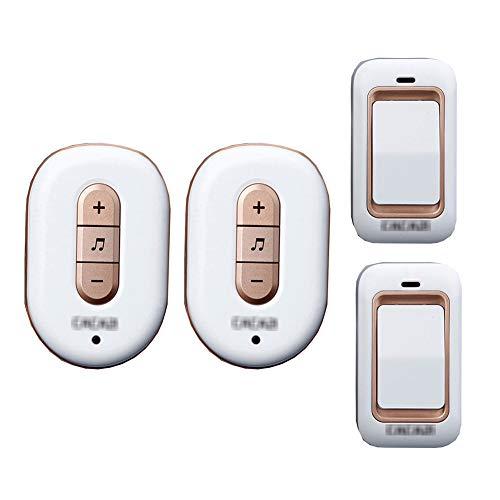 Lange afstand draadloze deurbel, intelligente IP44 waterdichte deurbelkit op afstand 36 melodie niveau 4 volume met 2 knoppen (zelfaangedreven) en 2 ontvangers,1