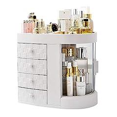 化粧品収納ボックス メイクケース 化粧品入れ コスメ収納 4引き出しは 化粧品 口紅 化粧ブラシ ホワイト