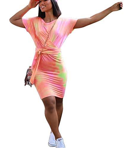 Tie Dye Dress - Sexy Off The Shoulder Short Sleeve Tye Dye Dresses for Women Pink Medium