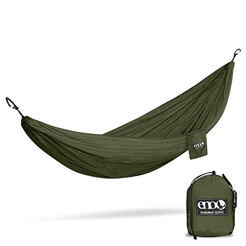 ENO, Eagles Nest Outfitters DoubleNest Lightweight Camping Hammock, 1 to 2 Person, Olive/Olive