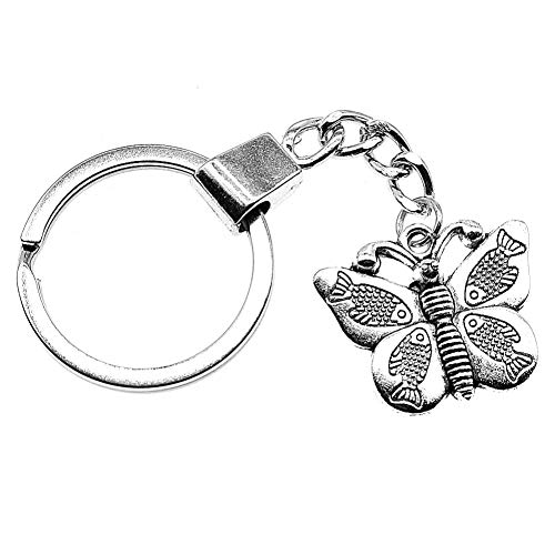 N/ A Mode mannen sieraden sleutelhanger DIY metalen houder ketting vlinder 27x22mm verzilverd hanger cadeau