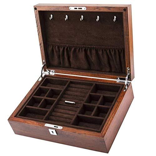 GUOOK Caja organizadora de reloj para mujer de madera, caja de joyería personalizada para almacenamiento de exhibición (color: marrón)