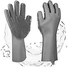 Magic SakSak Reusable Silicone Eco-Friendly Cleaning Brush Scrubber Gloves Heat Resistant, Great for Dish wash, Cleaning, Household, Washing the Car, Pet Hair Care (Grey)