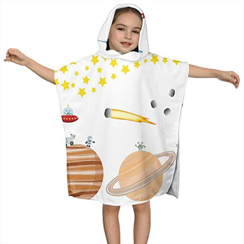 LALOPEZ Cute Outer Space Planets and Star Kids Hooded Bath Towel One Size -Personality, Fashion for Children