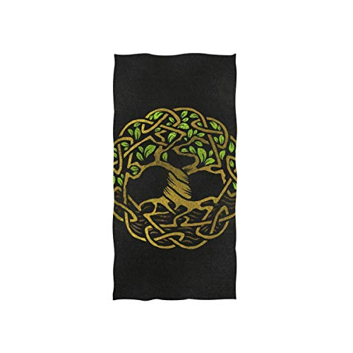 Decorative Hand Towel with Viking Celtic Knot Print for Bathroom Fitness, 30'x15'
