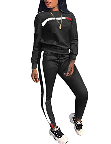Stripe Patchwork Long Sleeve Sweatshirt Tops and Long Pants Two Piece Tracksuit for Junior Black M