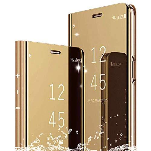 TOPOFU Funda para Samsung Galaxy A32 5G Cáscara,Ultra Delgado Inteligente Espejo Brillante Funda [360° Protection] [Soporte Plegable] [Anti-Scratch] Flip Case Cover para Samsung Galaxy A32 5G-Oro