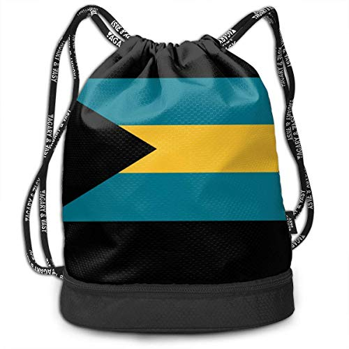 zhangyuB Polyester Bolsa con cordón Theft Proof Waterproof Large Shoulder Bags Large Capacity For Basketball, Volleyball, Baseball, Sports & Workout Gear (Flag of The Bahamas)