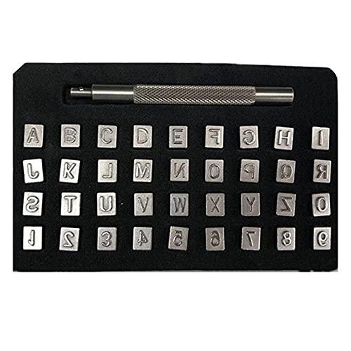 37 Unids / set Acero Metal Número y Estampado de Letras, Letras del Alfabeto y Sellos de Número Set Punzón de Acero Punzonado de Letras de Metal Herramientas de Cuero para Artesanía de Cuero Diy