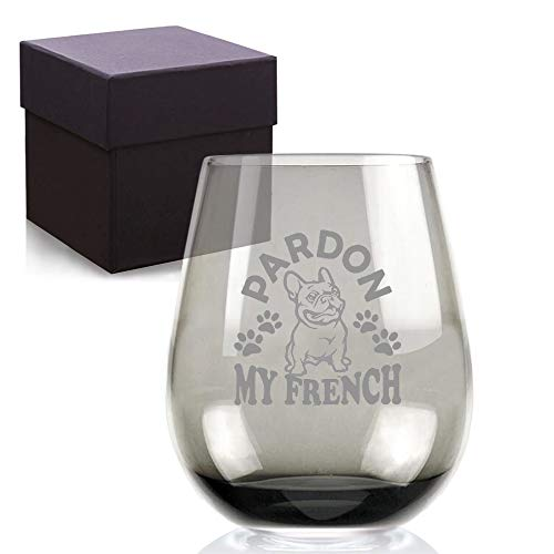 Pardon My French Bulldog Frenchie Dad Mom Handmade Black Etched Wine Glass - Gifts for Dog Lover