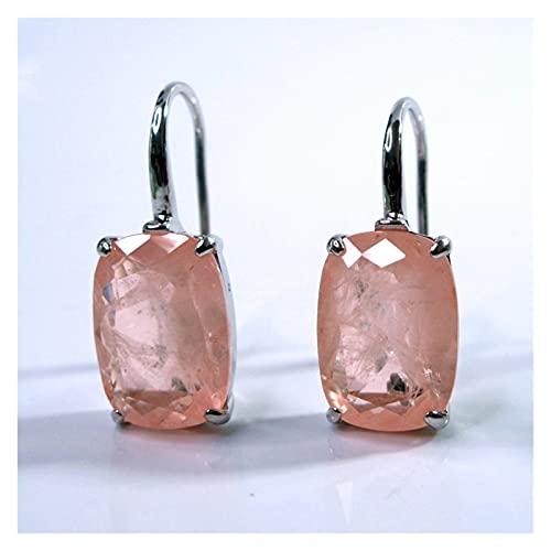 WERWER Pendientes Mujer Rosa Diamante Colgando con Gran Piedra de Plata Accesorios de joyería (Metal Color : Morganite Pink)