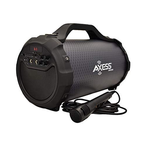 """AXESS SPBT1083BK Portable Bluetooth Indoor/Outdoor Speaker with Built in 6"""" Subwoofer, 2 Mic Inputs, USB and SD Disc Inputs, FM Radio"""