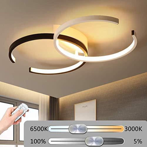 LED Plafonnier Anneau Dimmable Salon Lampe Luminaire 64W Moderne avec Télécommande Chic Métal Acrylique Lampe de plafond Lustre pour Chambre Salle à manger Bureau Plafond Suspension Lampe