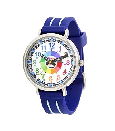 KIDDUS Montre Bracelet Éducative pour Enfants, garçon. Time Teacher Analogique avec Exercices. Facile d'Apprendre à Lire l'Heure. Aiguilles Écrites. Bleu