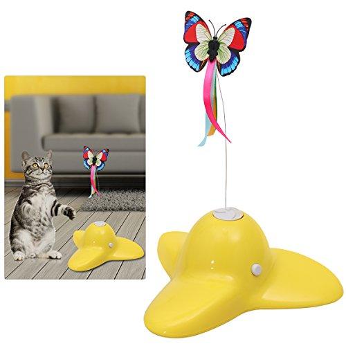 UEEKEK gatto di svolgere un gatto domestico spinner giocattolo interattivo buffo animaletto giocattoli, giallo