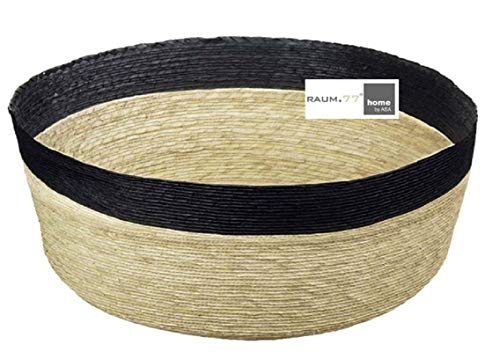 ASA Selection Makaua Korb S, Aufbewahrungskorb, Füllkörbchen, Rund, Schwarz Rand, Palme, 27 cm, 79301058