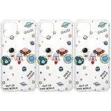 ABOOFAN 3 fundas de teléfono de Navidad compatibles con 12 fundas de silicona de poliuretano termoplástico transparente con bonitos patrones para mujeres y niñas (astronauta tierra)