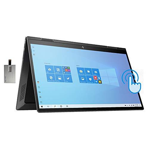 """2021 HP Envy x360 2-in-1 15.6"""" FHD Touchscreen Laptop Computer, AMD Ryzen 7-4700U Processor, 32GB RAM, 1TB PCIe SSD, Backlit KB, B&O Audio, HD Webcam, HDMI, Windows 10, Black, 32GB SnowBell USB Card"""