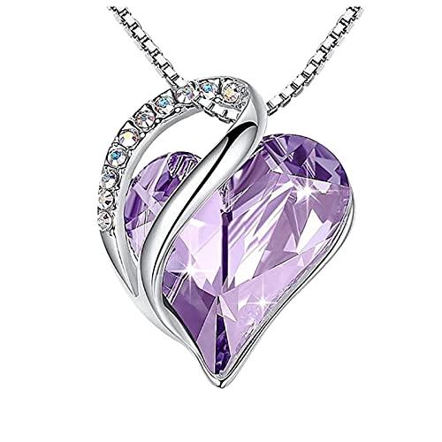 Amaeen Collar con Colgante de Corazón de Amor de 18 Quilates con Regalos de Joyería de Cristal de Piedra para Mujeres Collar de Accesorios de Amor de Moda Cadena de Clavícula