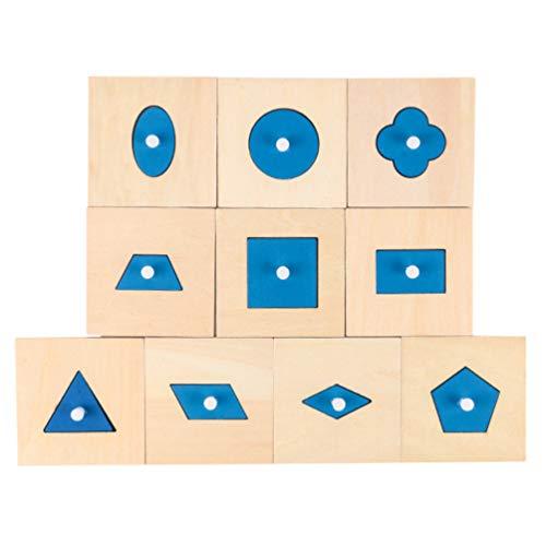 STOBOK 10 Peças Mini Blocos de Geometria Knobbed Montessori Brinquedo Educacional de Madeira Primeiros Sentidos de Desenvolvimento Em Casa Brinquedo Escolar