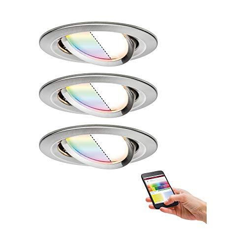Paulmann 92965 Nova Plus LED Einbauleuchte Set Smart Home Zigbee RGBW rund schwenkbar incl. 3x2,5 Watt dimmbar Einbaustrahler Eisen gebürstet Spot Alu Zink Einbaulampe 2700 K
