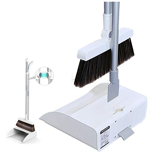 Broom and Dustpan Set,Orient P&E 3 in 1 180°Rotating Broom Magnetic Automatic Buckle Dustpan Broom Combo with Scraper for Home Kitchen Room Office Lobby Floor Pets Use