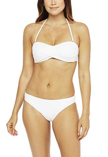 La Blanca Women's Plus Size Island Goddess Bandeau Bikini Swimsuit Top, White, 18W
