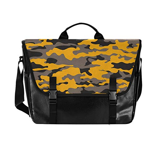 Messenger Bag-Military Camouflage Army Waterproof Canvas Leather Computer Laptop Bag 15.6 Inch Briefcase Shoulder Bag with Padded Adjustable Shoulder Strap
