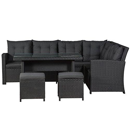ArtLife Polyrattan Sitzgruppe Lounge Santa Catalina schwarz – Gartenmöbel-Set mit Eck-Sofa, 2 & Tisch - bis 6 Personen - wetterfest & stabil