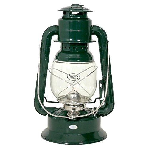 Dietz Original Sturmlaternen-Set große Wizard Petroleumlampe, tannengrün pulverbeschichtet, Höhe 292 mm, mit 1 Liter Petroleum und Docht