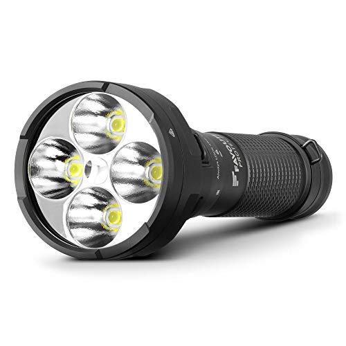 Favour Taschenlampe Protect T2147 mit 12.000 Lumen XHP Cree LED weiß, wiederaufladbarer Li-Ionen-Akku - Extrem helle Outdoor Lampe mit 6 verschiedenen Lichtmodi und Schulterriemen