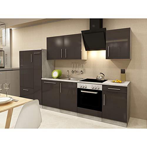 Küchenzeilen Komplett 310 inkl. E-Geräte Apothekerschrank Kühlschrank Spülmaschiene Hochglanz Braun/Beton