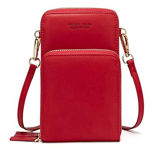 Bolso de teléfono móvil para mujer Monedero de cartera cruzada Mini bolso de teléfono celular cruzado de cuero ligero con ranuras para tarjeta de correa (Rojo)