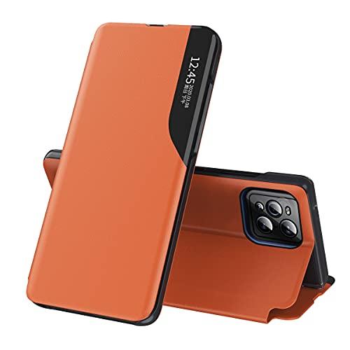 Eabhulie Funda para OPPO Find X3 Pro, Smart View Ventana Flip Stand Cover PU Cuero Protectora Carcasa para OPPO Find X3 / Find X3 Pro Naranja
