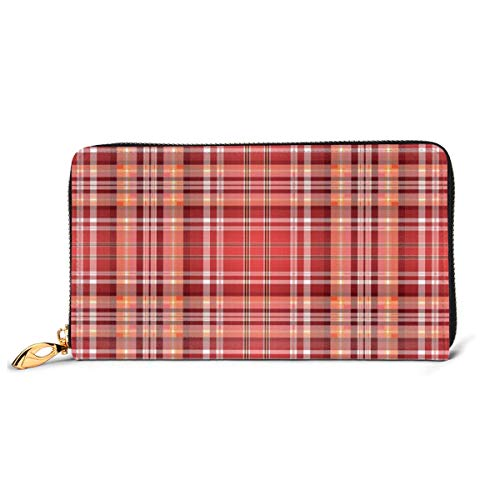 Women's Long Leather Card Holder Purse Zipper Buckle Elegant Clutch Wallet, Red Pink Orange Checkered Pattern with White Lines Cells Graphic,Sleek and Slim Travel Purse